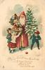 MERRY CHRISTMAS GREETINGS red Santa holding small christmas tree and baskets of toys