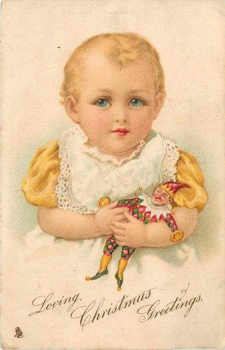 """LOVING CHRISTMAS GREETINGS  baby with """"punch"""" doll"""