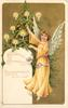 CHRISTMAS GREETINGS angel in gold robe to right of Xmas tree points to top of tree