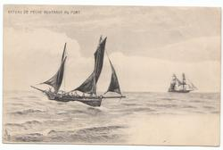 BATEAU DE PECHE RENTRANT AU PORT boat to left of card moving left