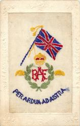 RAF inset in laurel wreath under crown, PER ARDUA AD ASTRA