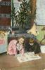 MERRY  CHRISTMAS WISHES  boy & girl kneel on floor, reading, Xmas tree & toys on chest behind