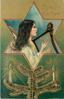 CHRISTMAS GREETINGS angels plays harp in star inset, evergreen below