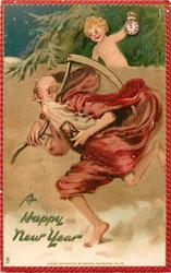 A HAPPY NEW YEAR white bearded santa running left carrying hour glass & scythe with infant holding clock on wall behind