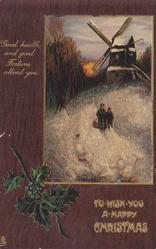 TO WISH YOU A HAPPY CHRISTMAS  inset  evening scene, mother & child walk away from windmill, six geese front
