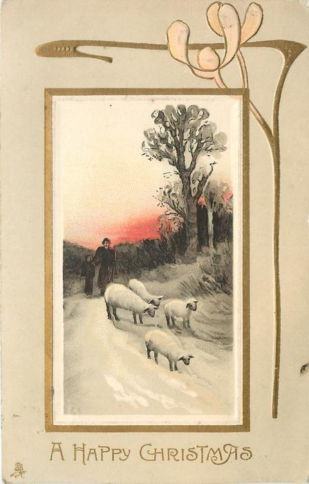 A HAPPY CHRISTMAS two people walking with four sheep, red setting sun
