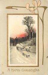 A HAPPY CHRISTMAS, two people walking with four sheep, red setting sun