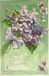 A BRIGHT AND HAPPY CHRISTMAS bunch of purple violets purple ribbon, green background, ornate border