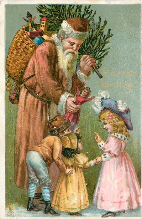 CHRISTMAS GREETINGS  brown robed Santa showing doll to children