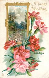 A HAPPY NEW YEAR seven pink carnations and one bud with insert of dirt road gate and trees