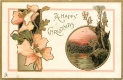A HAPPY CHRISTMAS two insets,trees in wetland right, flowers left