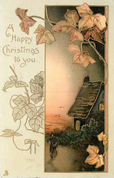 A HAPPY CHRISTMAS TO YOU, person stands beside house, sunset behind