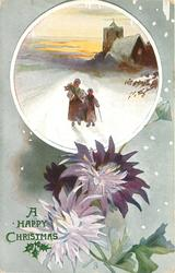 round inset of woman and child walking on snowy road and church with lights in distance, two purple mums below