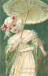 CHRISTMAS GREETINGS  girl in white holds open parasol, green background