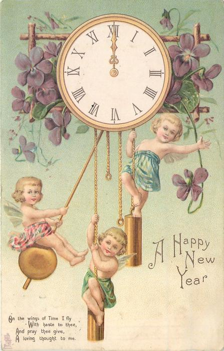 A HAPPY NEW YEAR  three cherubs hang from clock pendulums,violets