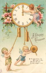 A HAPPY CHRISTMAS  one cherub adjusts time on clock, two cherubs below, wild roses