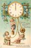 LOVING NEW YEAR GREETINGS three cherubs play with clock pendulums, forget-me-nots