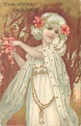 CHRISTMAS GREETINGS young girl in white, pink and red flowers in hands and hair