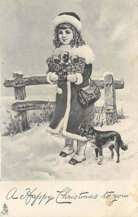 A HAPPY CHRISTMAS TO YOU  girl stands in snow holding basket of puppies whose mother stands right