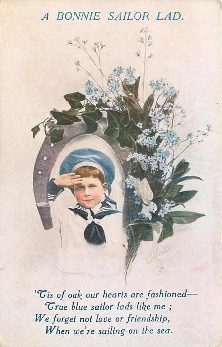 BONNIE SAILOR LAD boy in blue and white sailor suit, framed by a horseshoe donned with blue forget-me-nots