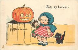 JACK O LANTERN  girl with doll in right arm and cat behind looks at jack o lantern