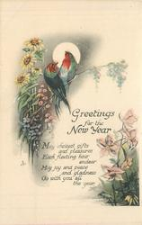 GREETINGS FOR THE NEW YEAR two birds on flower stem, flowers surround