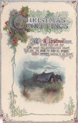 CHRISTMAS GREETINGS  two lighted cottages
