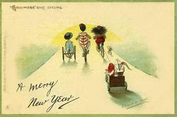 "A MERRY CHRISTMAS or A MERRY NEW YEAR  ""GOLLIWOGG"" GOES CYCLING"