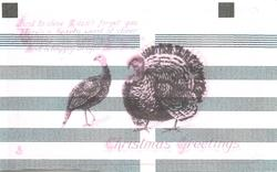 CHRISTMAS GREETINGS hen turkey left, gobbler right