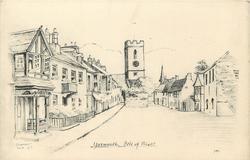 YARMOUTH, ISLE-OF-WIGHT  street scene, church behind