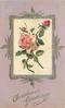 CHRISTMAS GREETINGS oblong silk inset of pink roses, pink cardstock