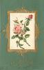 CHRISTMAS GREETINGS oblong silk inset of pink roses, green cardstock