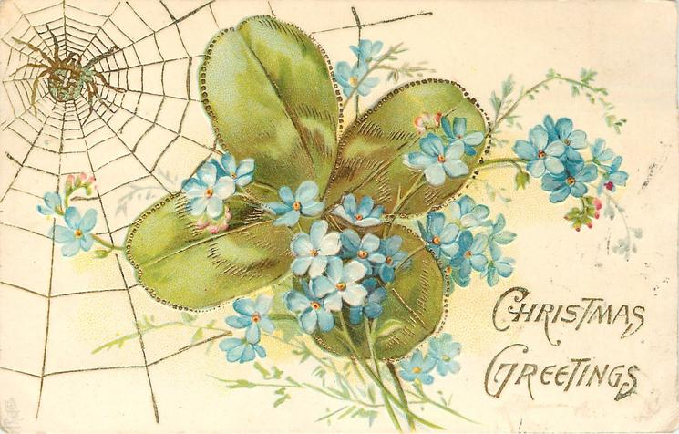 CHRISTMAS GREETINGS forget-me-nots in front of clover leaves, spider & web top left
