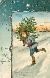 MERRY CHRISTMAS GREETINGS angel skates down snow hill carrying a christmas tree, town behind