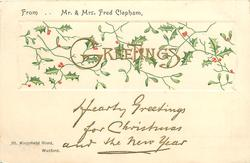 holly insert with gilt GREETINGS