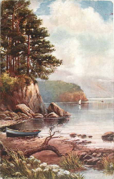 DERWENTWATER shoreview with uprooted tree & canoe, trees on cliff-side left