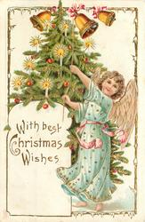 WITH BEST CHRISTMAS WISHES angel rings golden bells above Christmas tree
