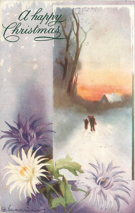 couple on snowy road, chrysanthemums