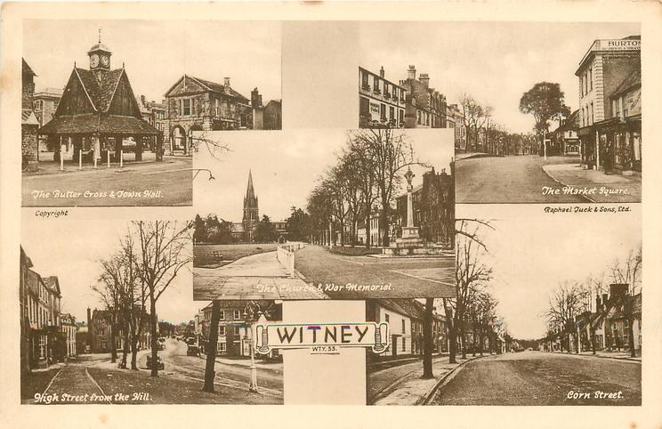 5 insets THE BUTTER CROSS & TOWN HALL'THE MARKET SQUARE/THE CHURCH & WAR MEMORIAL/HIGH STREET FROM THE HILL/CORN STREET