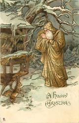 A  HAPPY CHRISTMAS, brown robed Santa cuddles infant, fawn and rabbit observe