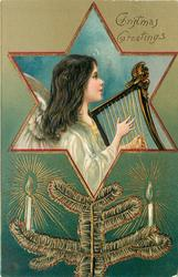 CHRISTMAS GREETINGS angel playing harp in hexagonal insert, tree branch with candles below