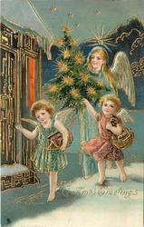 CHRISTMAS GREETINGS, angel carries Christmas tree with two angels carrying baskets