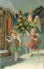 CHRISTMAS GREETINGS angel carries Christmas tree with two angels carrying baskets