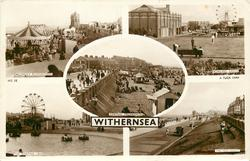 5 insets  CHILDRENS PLAYGROUND/BOWLING GREEN/CENTRAL PROMENADE/THE BOATING LAKE/THE SEA FRONT