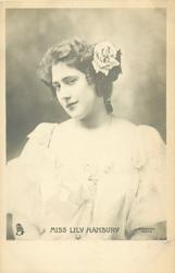 MISS LILY HANBURY  head & shoulders, facing front,head tilted to her right shoulder, looking left