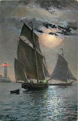 two sailing boats at sunset
