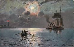 sailing boat, moonlight