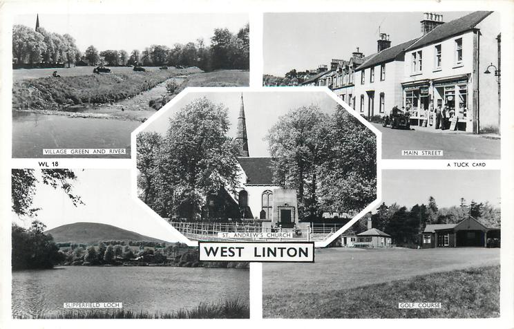 5 insets VILLAGE GREEN AND RIVER/MAIN STREET/ST. ANDREW'S CHURCH/SLIPPERFIELD LOCH/GOLF COURSE