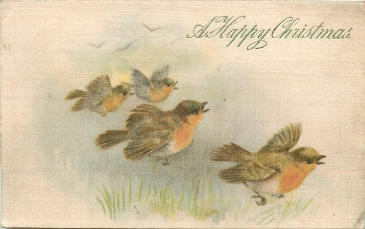 A HAPPY CHRISTMAS four yellow breasted birds fly right