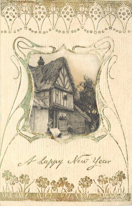 A HAPPY NEW YEAR silk centre inset old  thatched house, woman sitting on step
